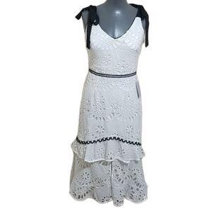 Adelyn Rae Polka Dot Eyelet Dress White S NWT